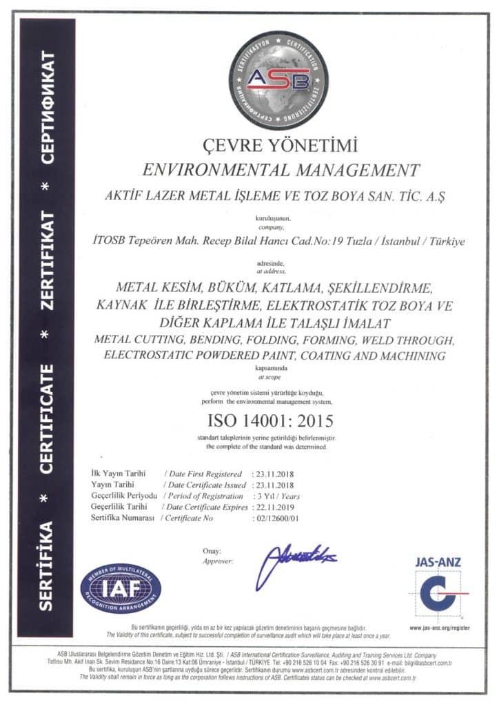 ISO-14001 kalite sertifikası