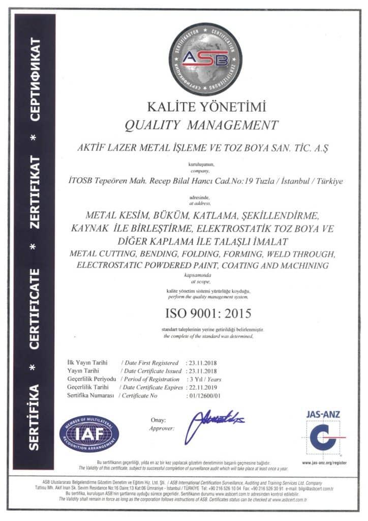 ISO-9001 kalite sertifikası